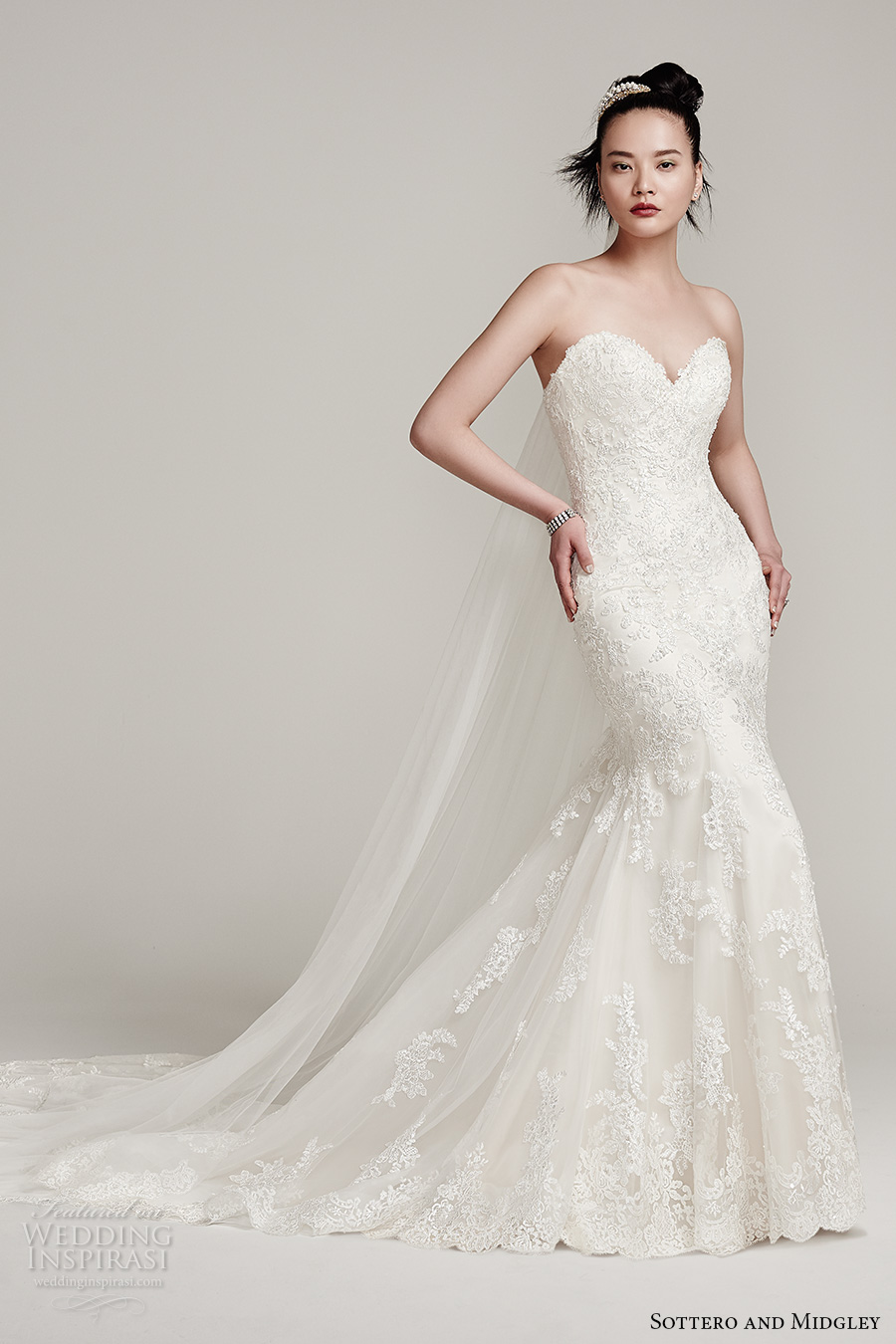 sottero midgley fall 2016 bridal strapless thick strap detachable sweetheart neckline full embellishment elegant classic mermaid wedding dress sweep train (ireland) mv