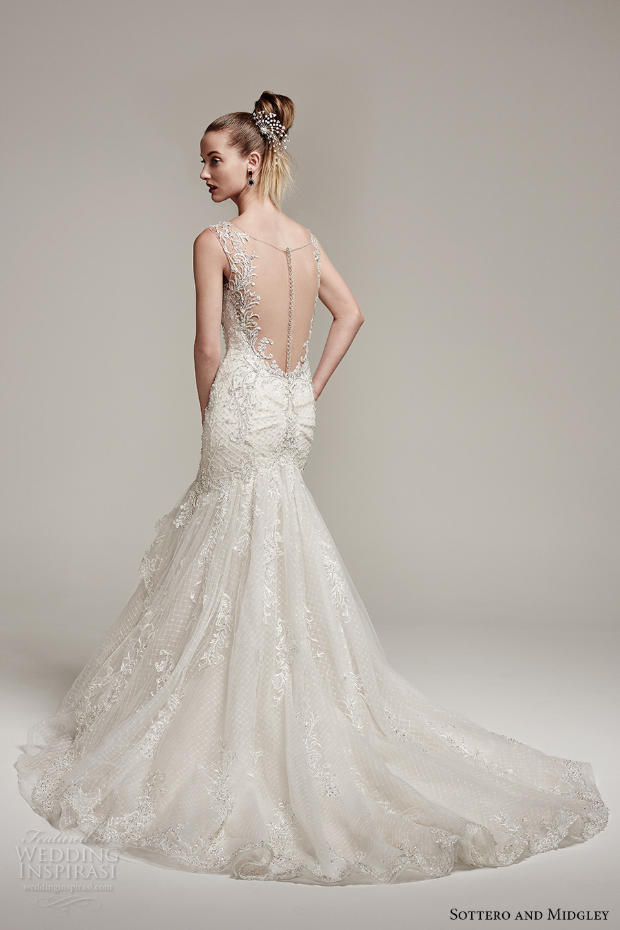 sottero midgley fall 2016 bridal thick strap scoop neckline heavily embellished bodice classic elegant mermaid wedding dress illusion low back chapel train (zanetta) bv