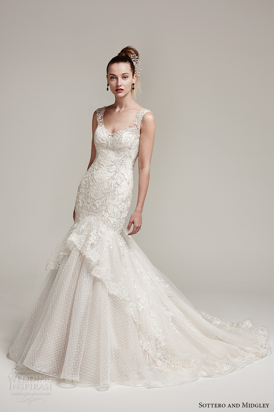 sottero midgley fall 2016 bridal thick strap scoop neckline heavily embellished bodice classic elegant mermaid wedding dress illusion low back chapel train (zanetta) mv