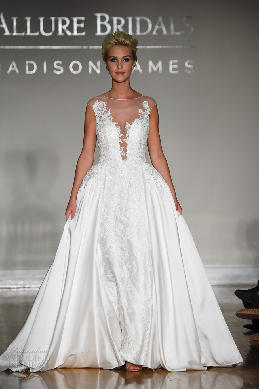 allure bridal maddison james f2017 cap sleeves illusion bateau deep plunging neckline heavily embellished bodice elegant ball gown wedding dress sheer back sweep train (034) mv