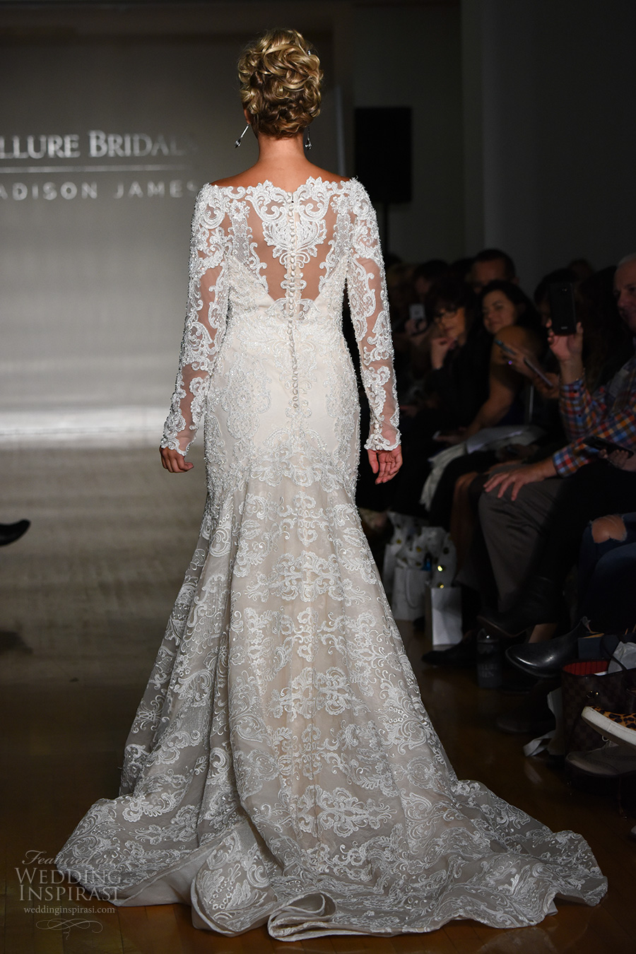 allure bridal maddison james f2017 long sleeves bateau neckline full embellishment fit and flare wedding dress illusion back medium train (030) bv