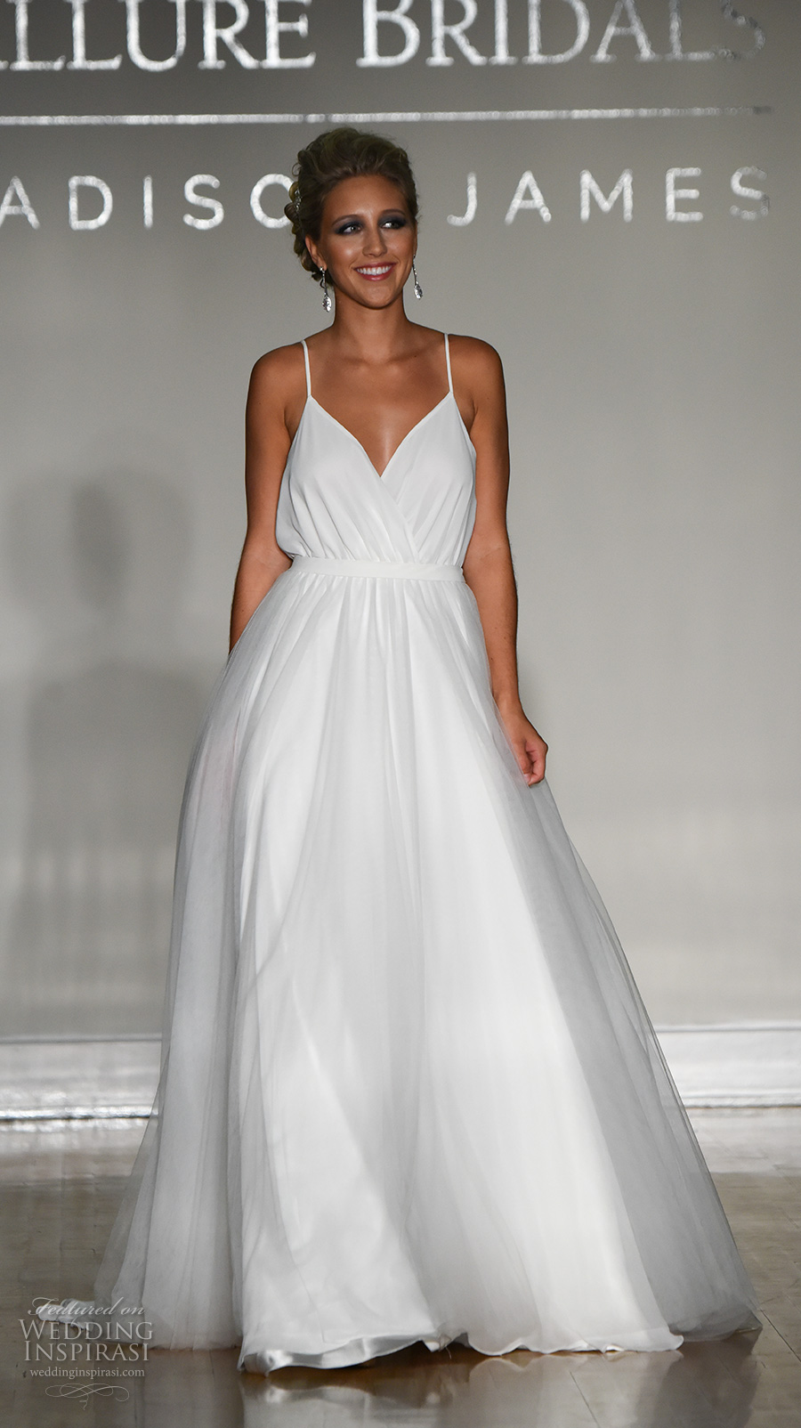 allure bridal maddison james f2017 sleeveless spagetti strap sweetheart neck wrap bodice simple romantic a line wedding dress v low back sweep train (036) mv