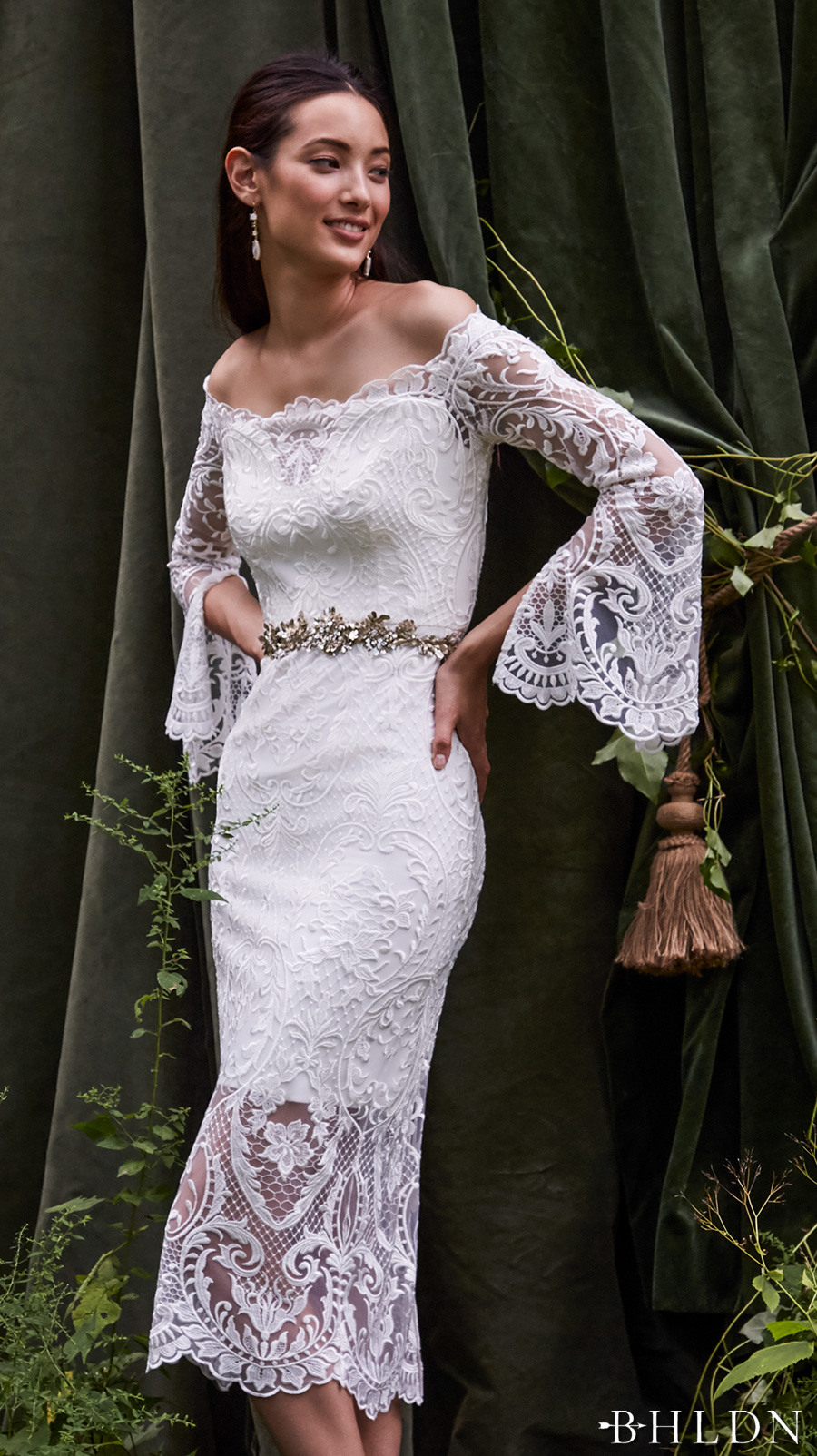 Behind the curtain bhldn s chic fall bridal collection for Long straight wedding dresses