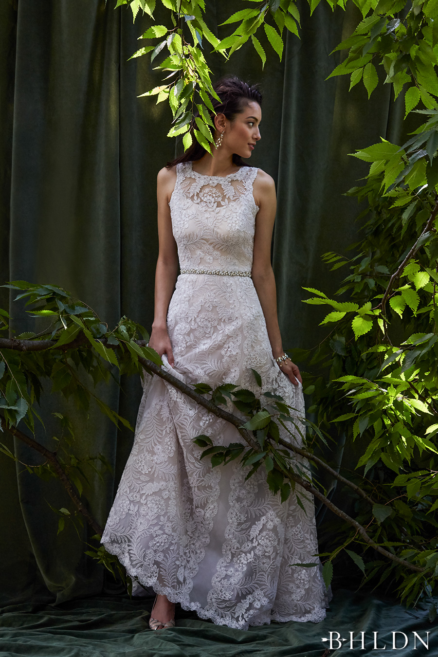 Behind the curtain bhldn s chic fall bridal collection for Fall lace wedding dresses