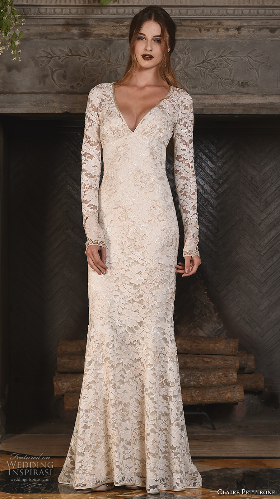 3652ace1666 claire pettibone fall 2017 bridal lace long sleeves v back full  embellishment elegant sheath wedding dress