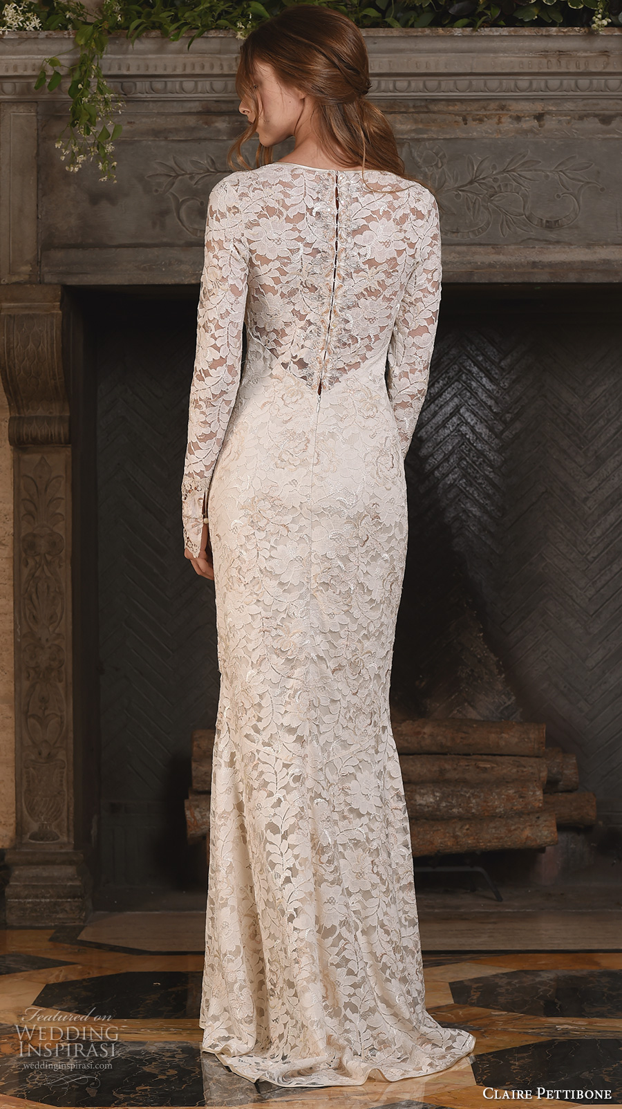 claire pettibone fall 2017 bridal lace long sleeves v back full embellishment elegant sheath wedding dress lace back sweep train (amber) zv