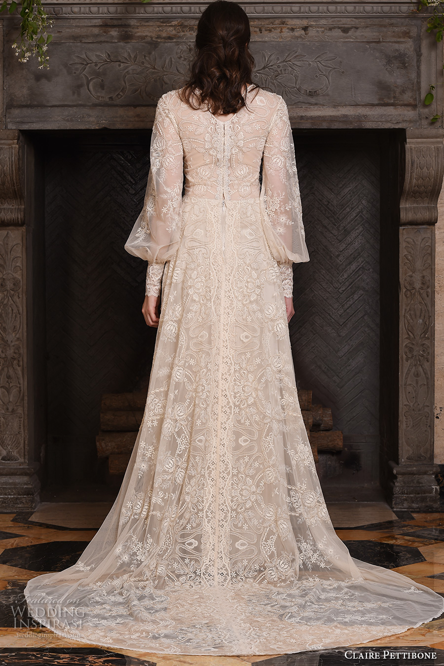 claire pettibone fall 2017 bridal long bishop sleeves small v neck full embellishment lace embroidered vintage art nouveau ivory color a  line wedding dress medium train (chrysanthemum) bv