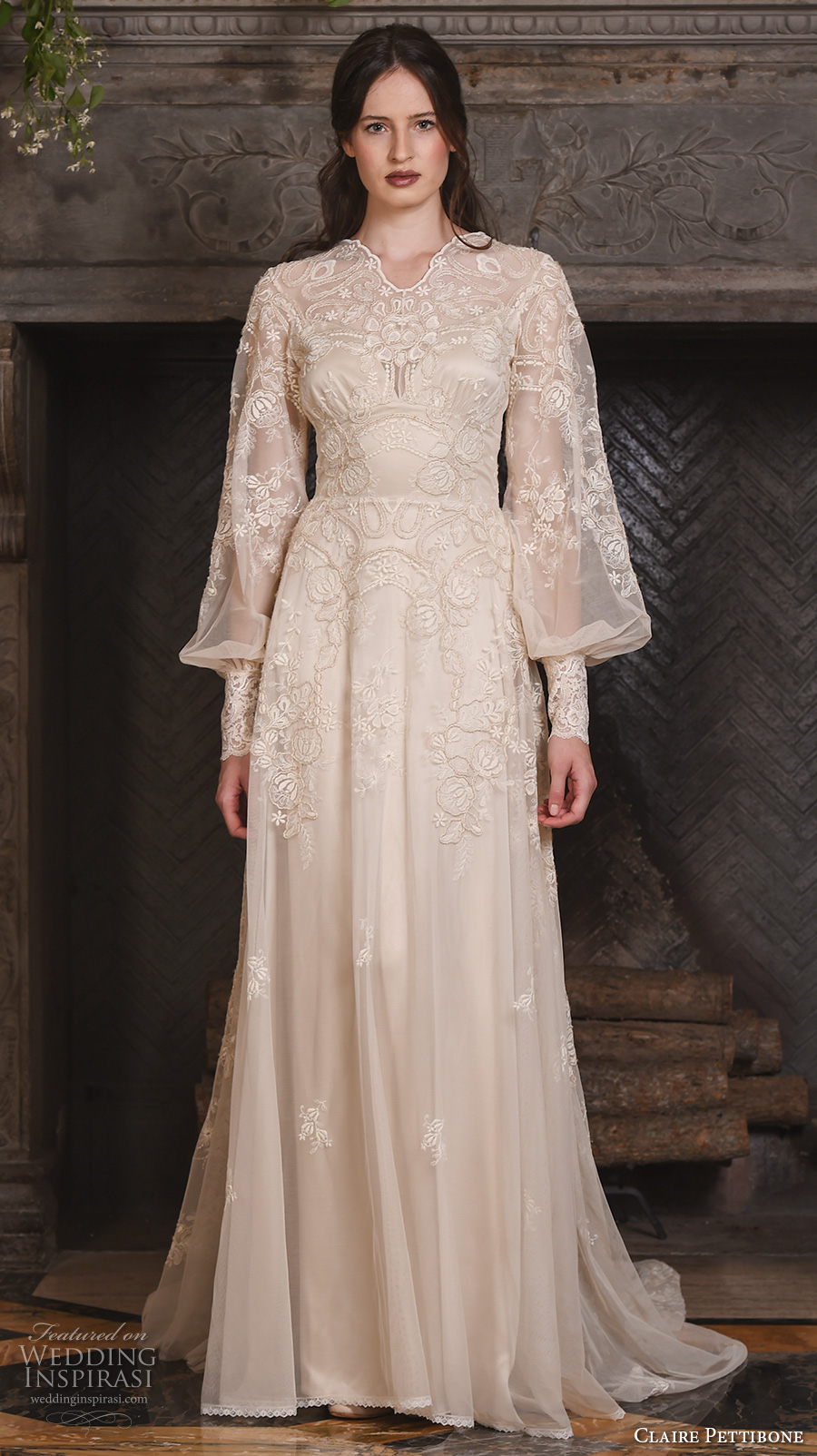 claire pettibone fall 2017 bridal long bishop sleeves small v neck full embellishment lace embroidered vintage art nouveau ivory color a  line wedding dress medium train (chrysanthemum) mv