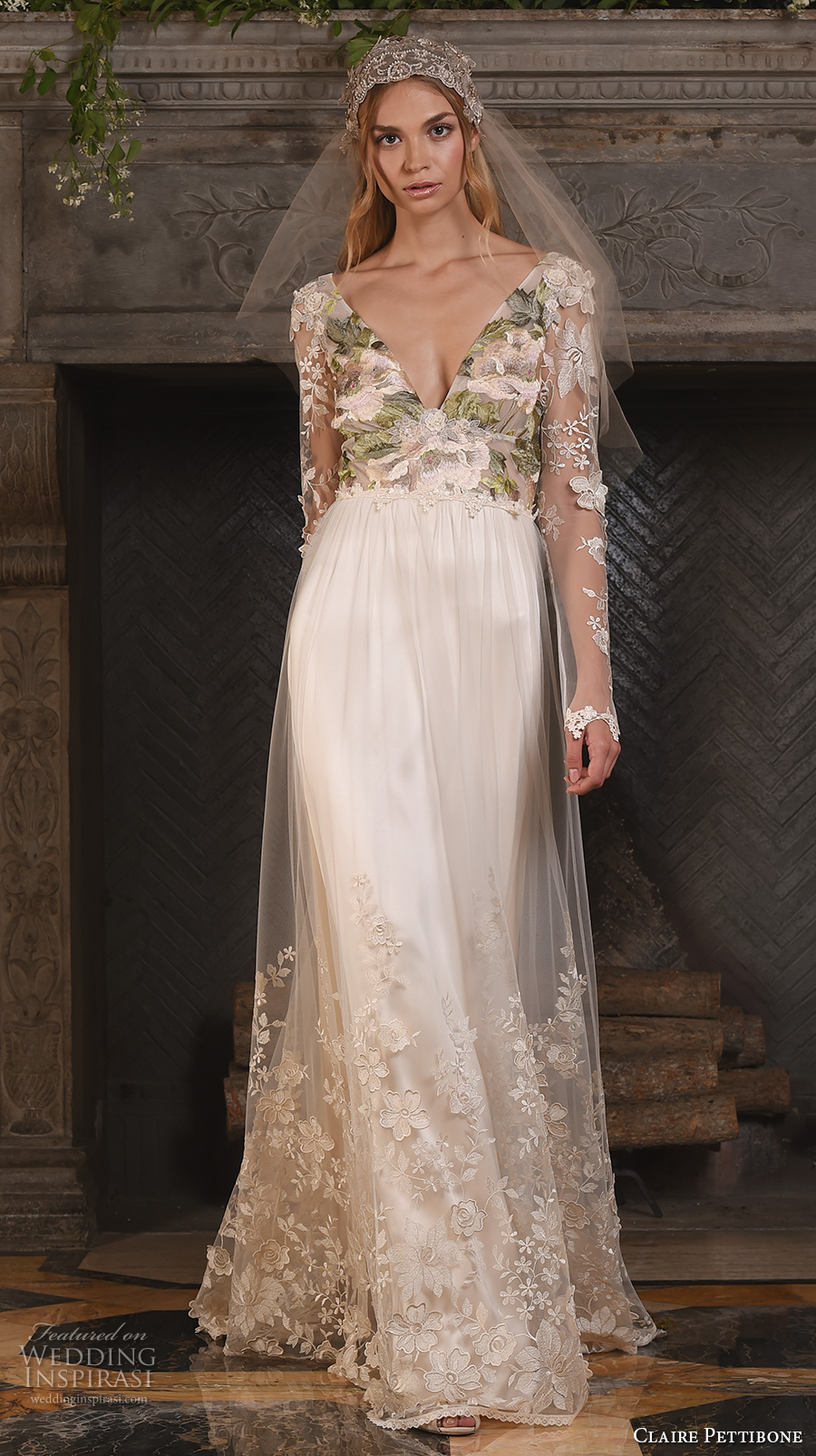 Claire pettibone fall 2017 wedding dresses the four for Wedding dresses with sleeves 2017