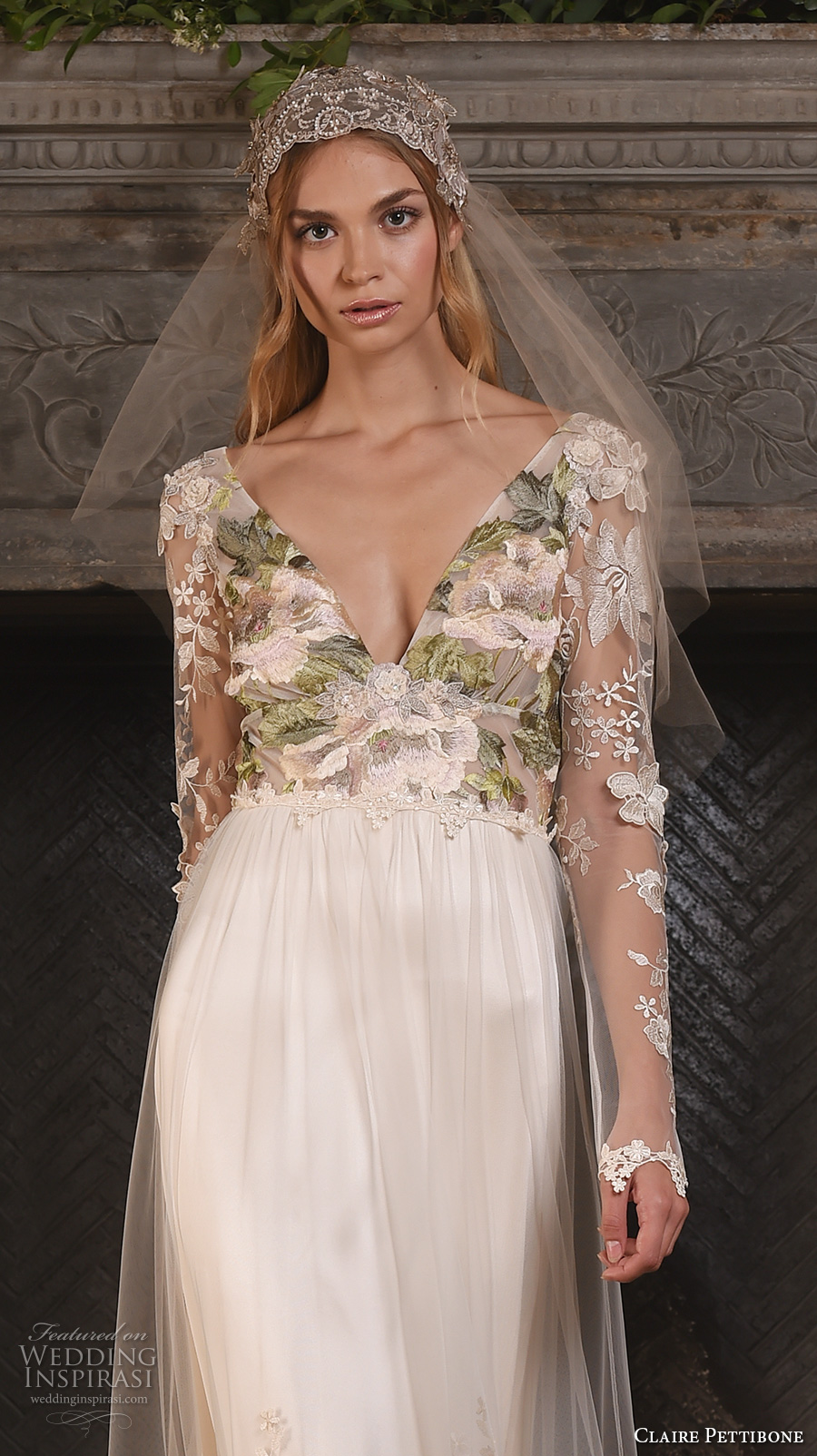 claire pettibone fall 2017 bridal long sleeves v neck heavily embellished bodice floral embroidery sheer modified a  line wedding dress low back sweep train (primavera) zv