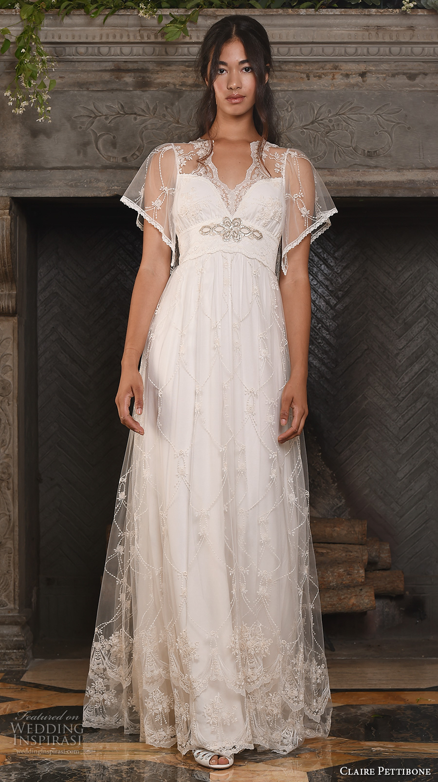claire pettibone fall 2017 bridal short butterfly sleeves v neck lightly embellished romantic bohemian modified a  line wedding dress keyhole back sweep train (theia) mv