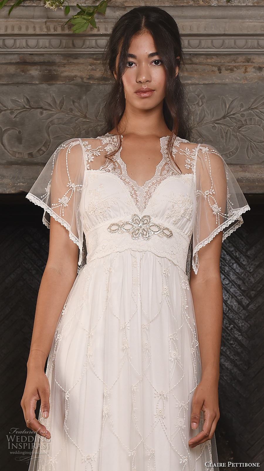 claire pettibone fall 2017 bridal short butterfly sleeves v neck lightly embellished romantic bohemian modified a  line wedding dress keyhole back sweep train (theia) zv