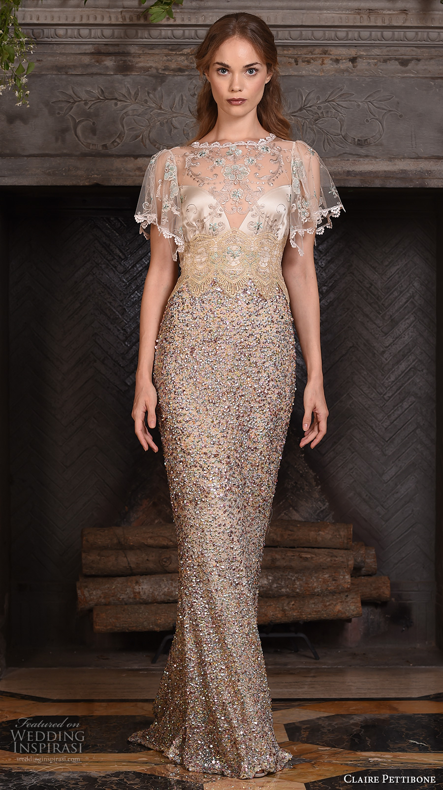 claire pettibone fall 2017 bridal short flutter sleeves sheer jewel neck sweetheart neckline beaded champagne color elegant glamorous sheath wedding dress sheer back sweep train (zodiac) mv