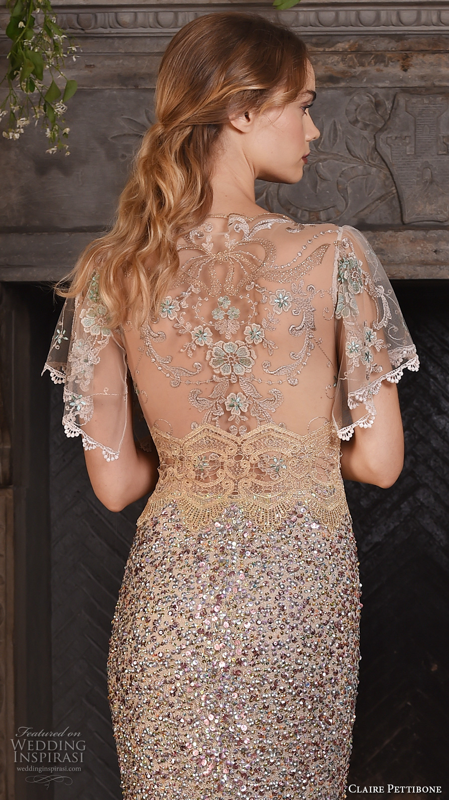 claire pettibone fall 2017 bridal short flutter sleeves sheer jewel neck sweetheart neckline beaded champagne color elegant glamorous sheath wedding dress sheer back sweep train (zodiac) zbv