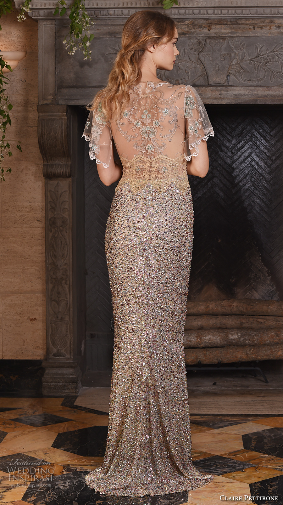 claire pettibone fall 2017 bridal short flutter sleeves sheer jewel neck sweetheart neckline beading champagne color elegant glam sheath wedding dress sheer back sweep train (zodiac) bv
