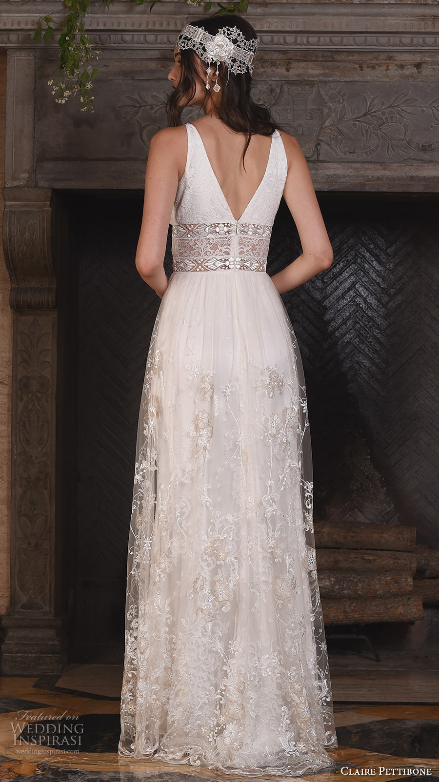 claire pettibone fall 2017 bridal sleeveless deep v neck chic bohemian sexy modified a  line wedding dress v back sweep train (nightingale) bv