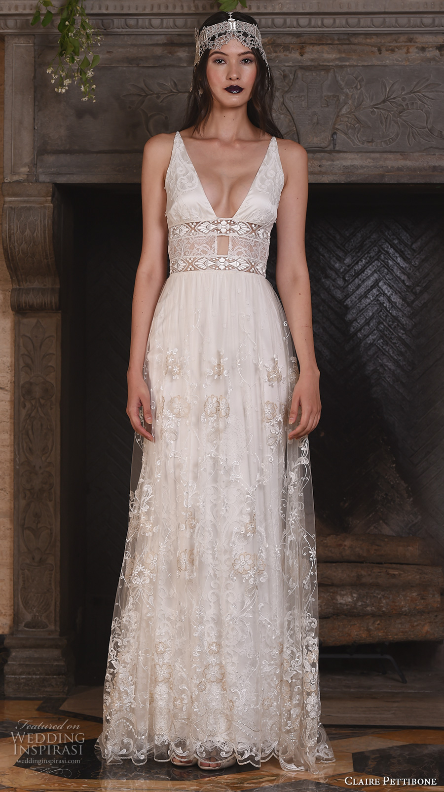 claire pettibone fall 2017 bridal sleeveless deep v neck chic bohemian sexy modified a  line wedding dress v back sweep train (nightingale) mv