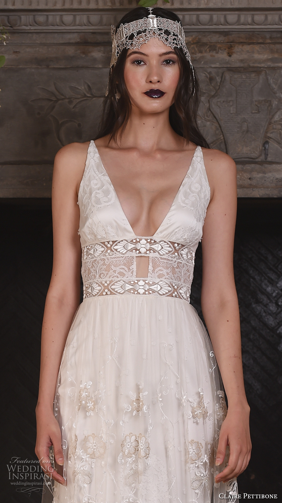 claire pettibone fall 2017 bridal sleeveless deep v neck chic bohemian sexy modified a  line wedding dress v back sweep train (nightingale) zv