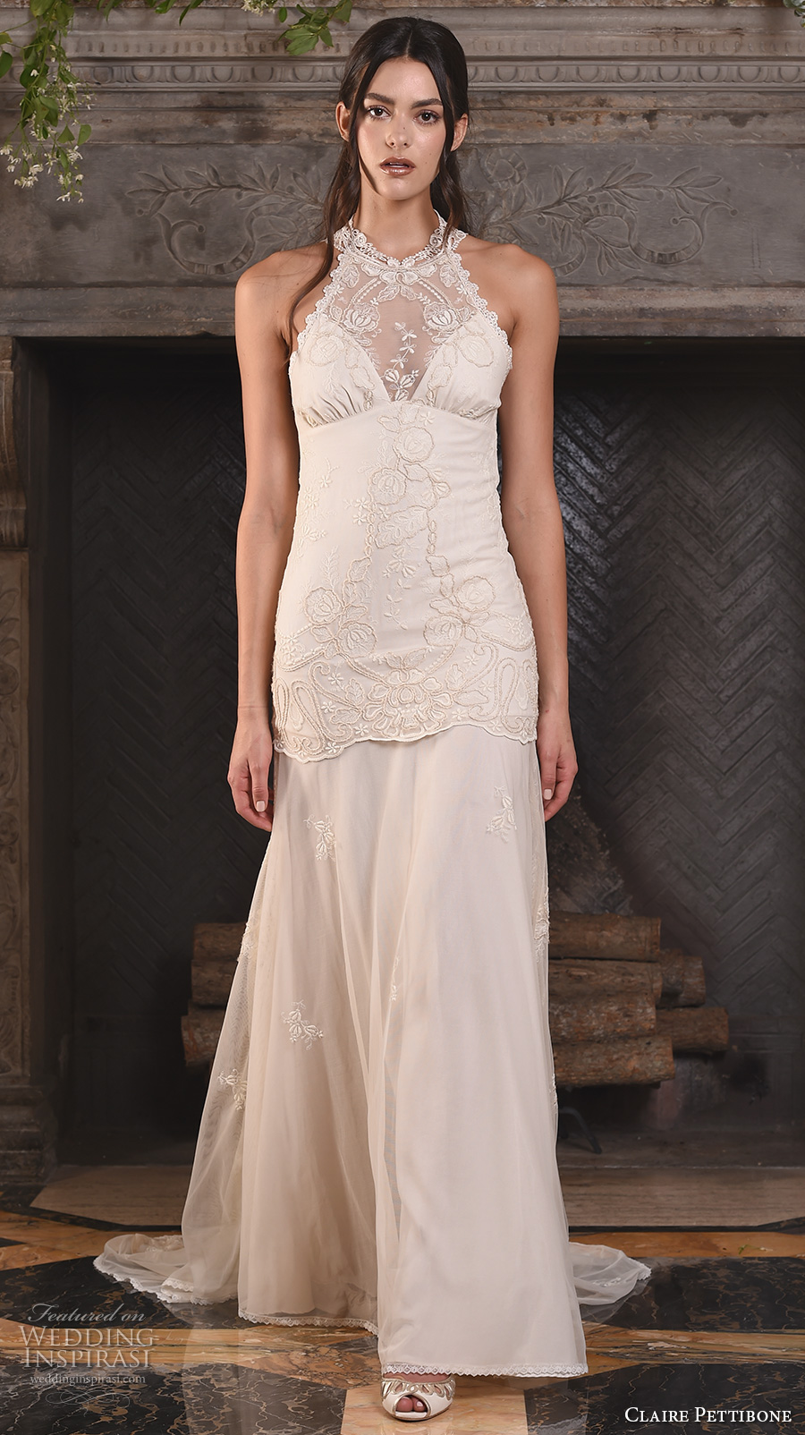 claire pettibone fall 2017 bridal sleeveless halter neck heavily embellished bodice ivory color drop waist vintage modified a  line wedding dress sweep train (athena) mv