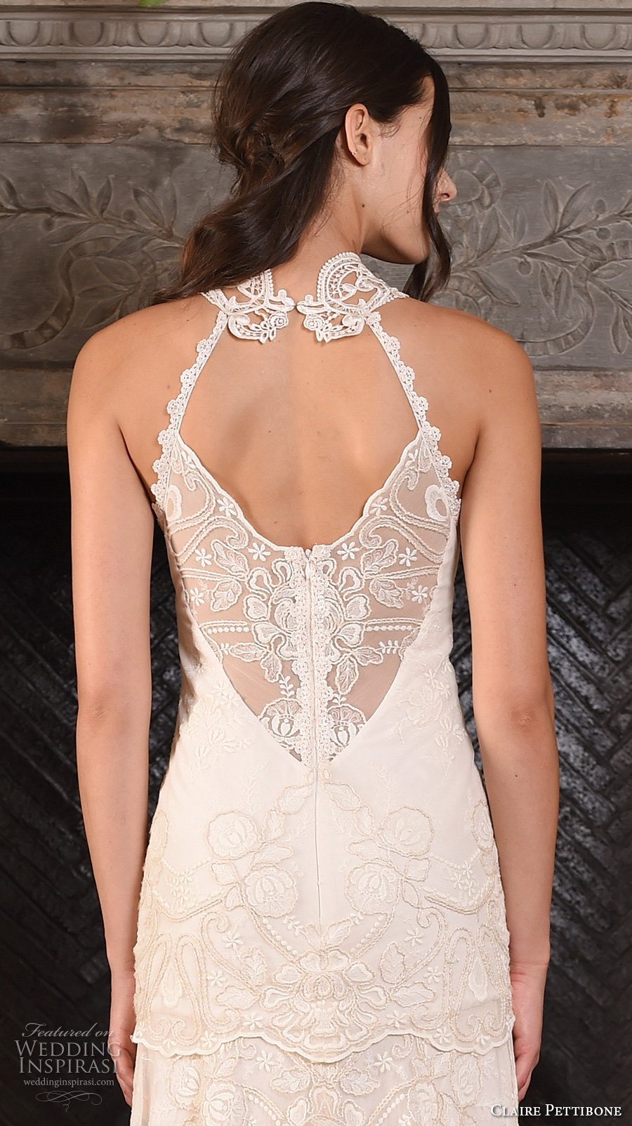 claire pettibone fall 2017 bridal sleeveless halter neck heavily embellished bodice ivory color drop waist vintage modified a  line wedding dress sweep train (athena) zbv