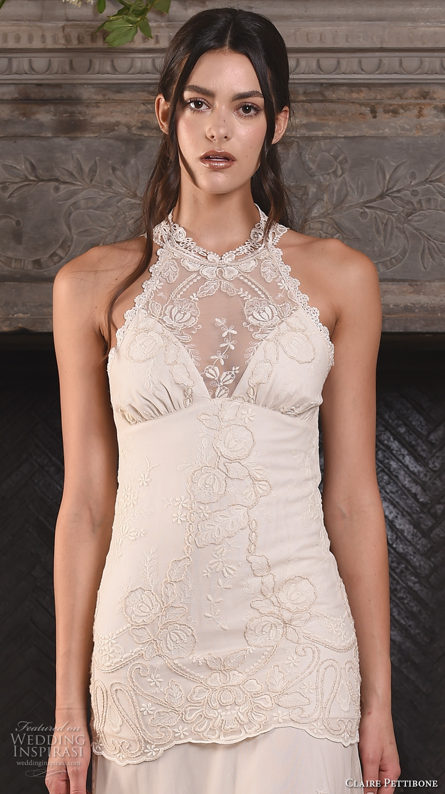 claire pettibone fall 2017 bridal sleeveless halter neck heavily embellished bodice ivory color drop waist vintage modified a  line wedding dress sweep train (athena) zv