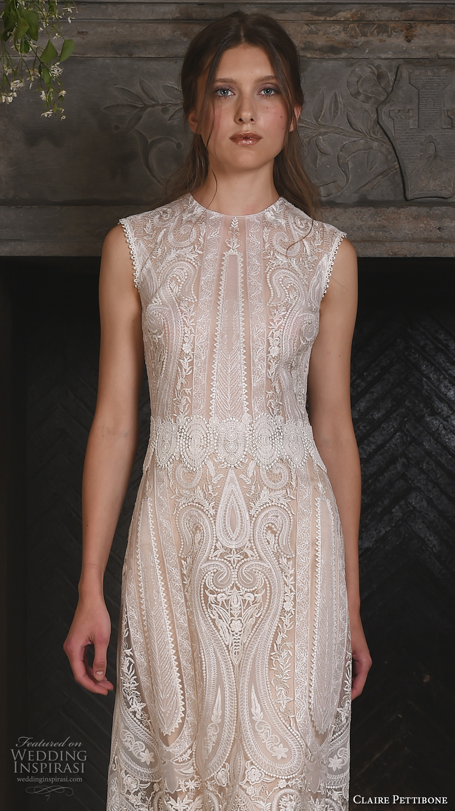 claire pettibone fall 2017 bridal sleeveless jewel neckline full embellishment vintage art deco embroidery lace a  line sheath wedding dress keyhole back (solstice) zv