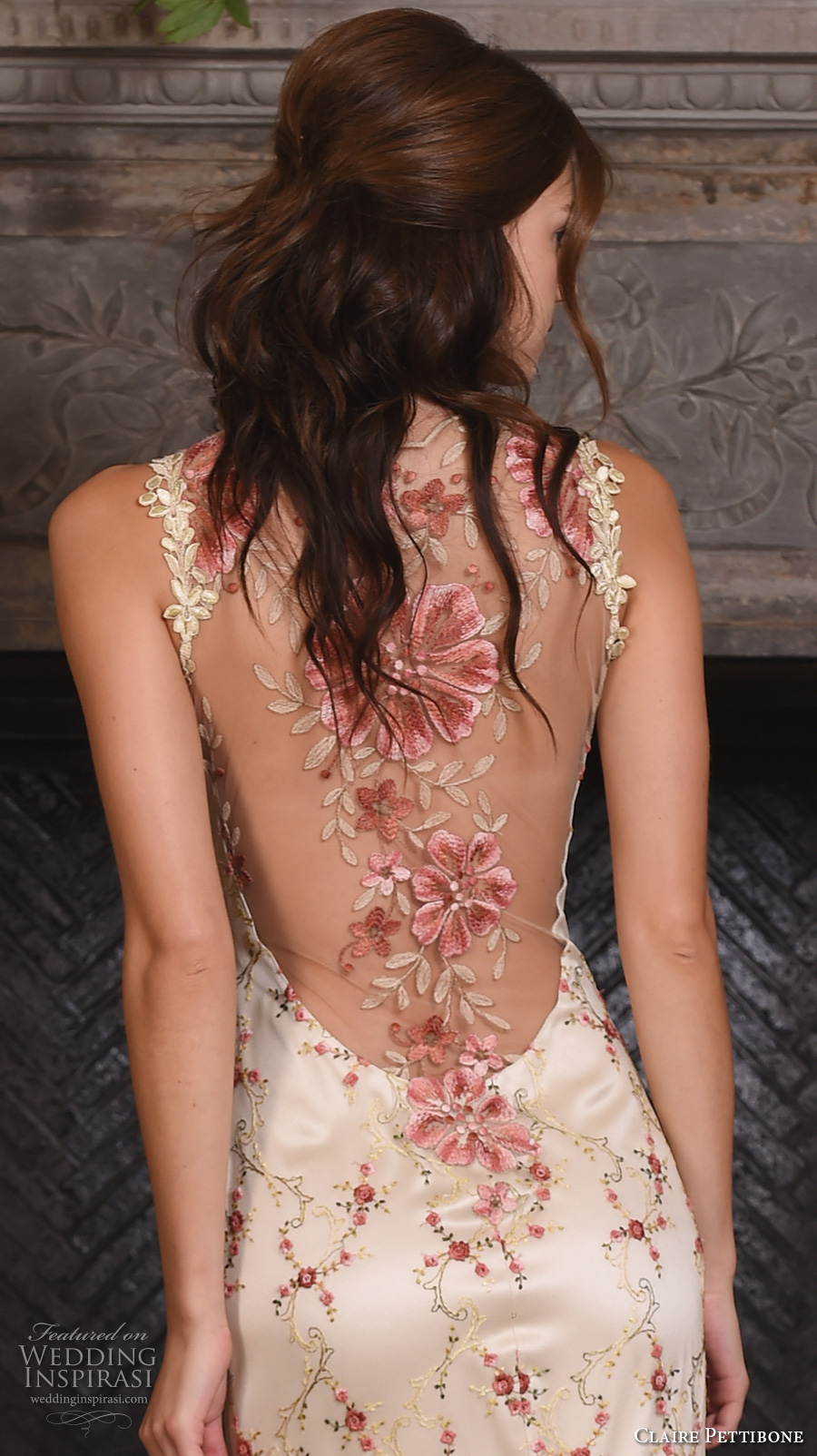 claire pettibone fall 2017 bridal sleeveless strap sweetheart neckline redfloral embroidered full embellishment vintage ivory color a  line wedding dress low back sweep train (maple) zbv