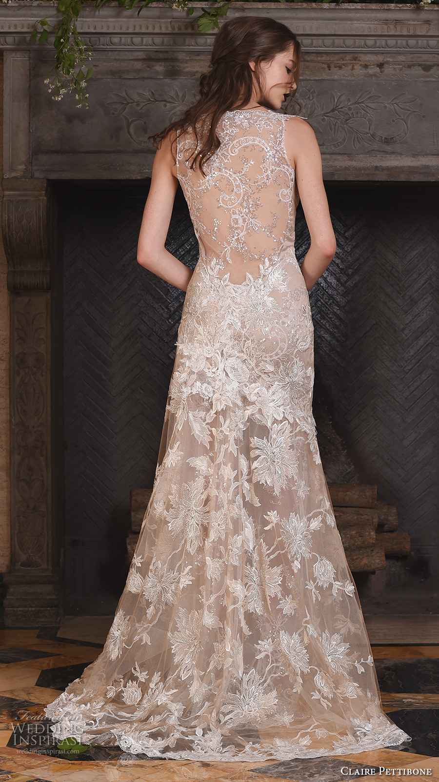 claire pettibone fall 2017 bridal sleeveless strap v neck full embellishment beautiful ivory color fit and flare mermaid wedding dress illusion lace back sweep train (noel) bv