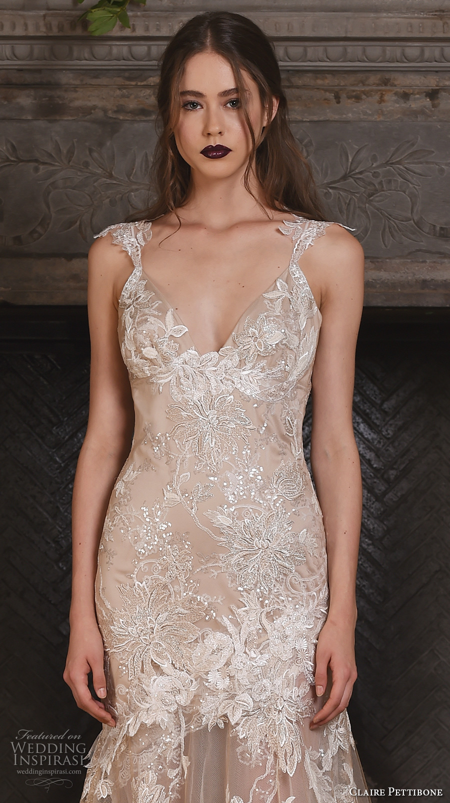 claire pettibone fall 2017 bridal sleeveless strap v neck full embellishment beautiful ivory color fit and flare mermaid wedding dress illusion lace back sweep train (noel) zv
