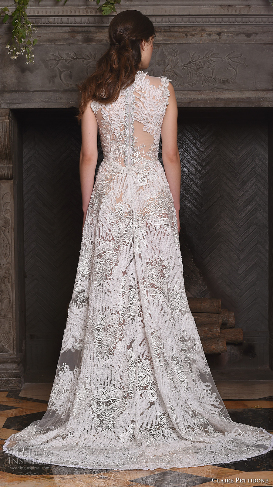 claire pettibone fall 2017 bridal sleeveless v neck full embellishment lace embroidered romantic modified a  line wedding dress lace back sweep train (snow) bv