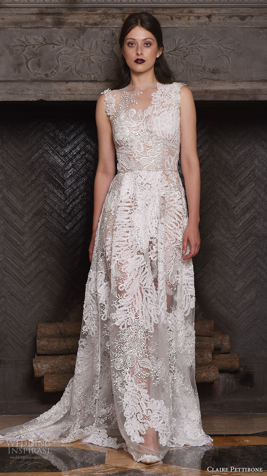 80bbd5c2721 claire pettibone fall 2017 bridal sleeveless v neck full embellishment lace  embroidered romantic modified a line