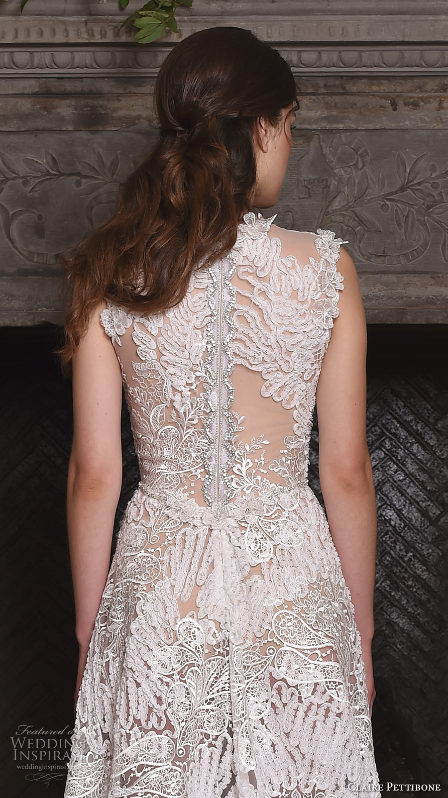 claire pettibone fall 2017 bridal sleeveless v neck full embellishment lace embroidered romantic modified a  line wedding dress lace back sweep train (snow) zbv