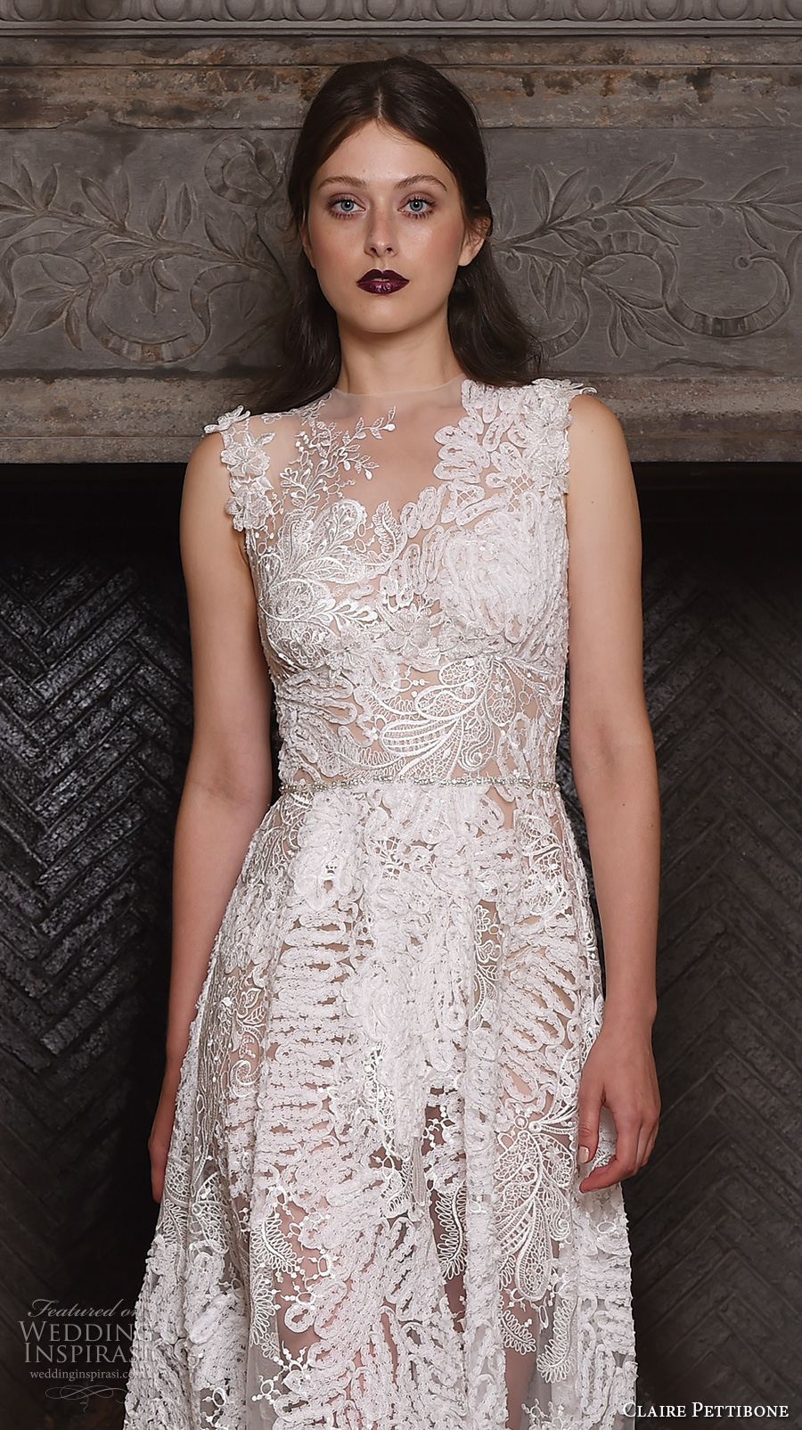claire pettibone fall 2017 bridal sleeveless v neck full embellishment lace embroidered romantic modified a  line wedding dress lace back sweep train (snow) zv
