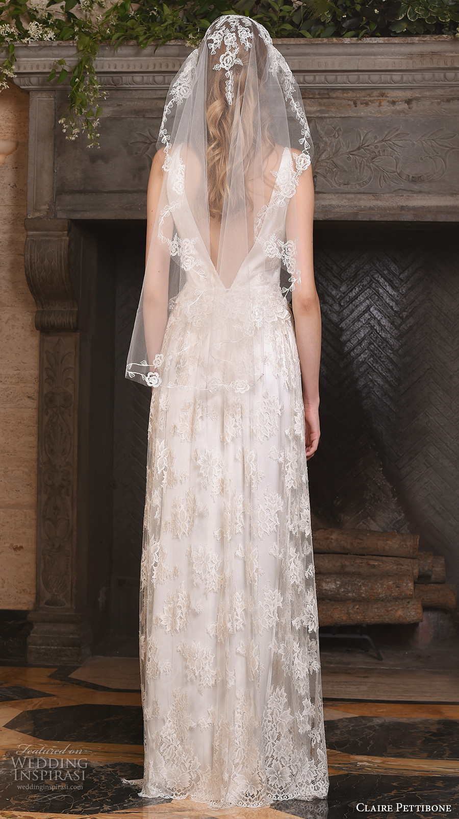 claire pettibone fall 2017 bridal sleeveless v neck vintage bohemian full embellishment lace overlay elegant a  line wedding dress low back (Persephone) bv