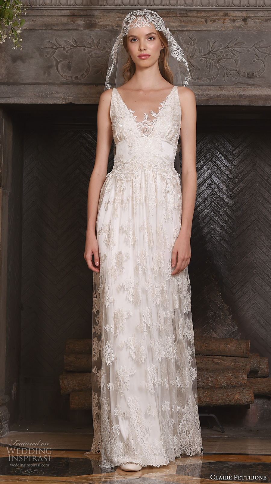 claire pettibone fall 2017 bridal sleeveless v neck vintage bohemian full embellishment lace overlay elegant a  line wedding dress low back (Persephone) mv