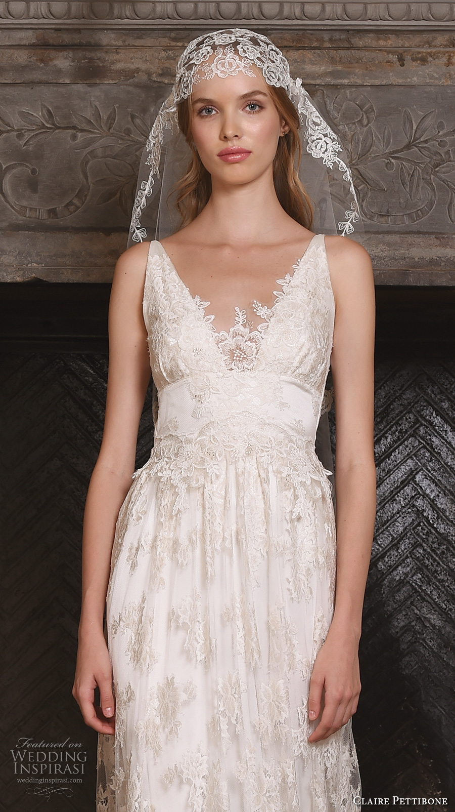 claire pettibone fall 2017 bridal sleeveless v neck vintage bohemian full embellishment lace overlay elegant a  line wedding dress low back (Persephone) zv