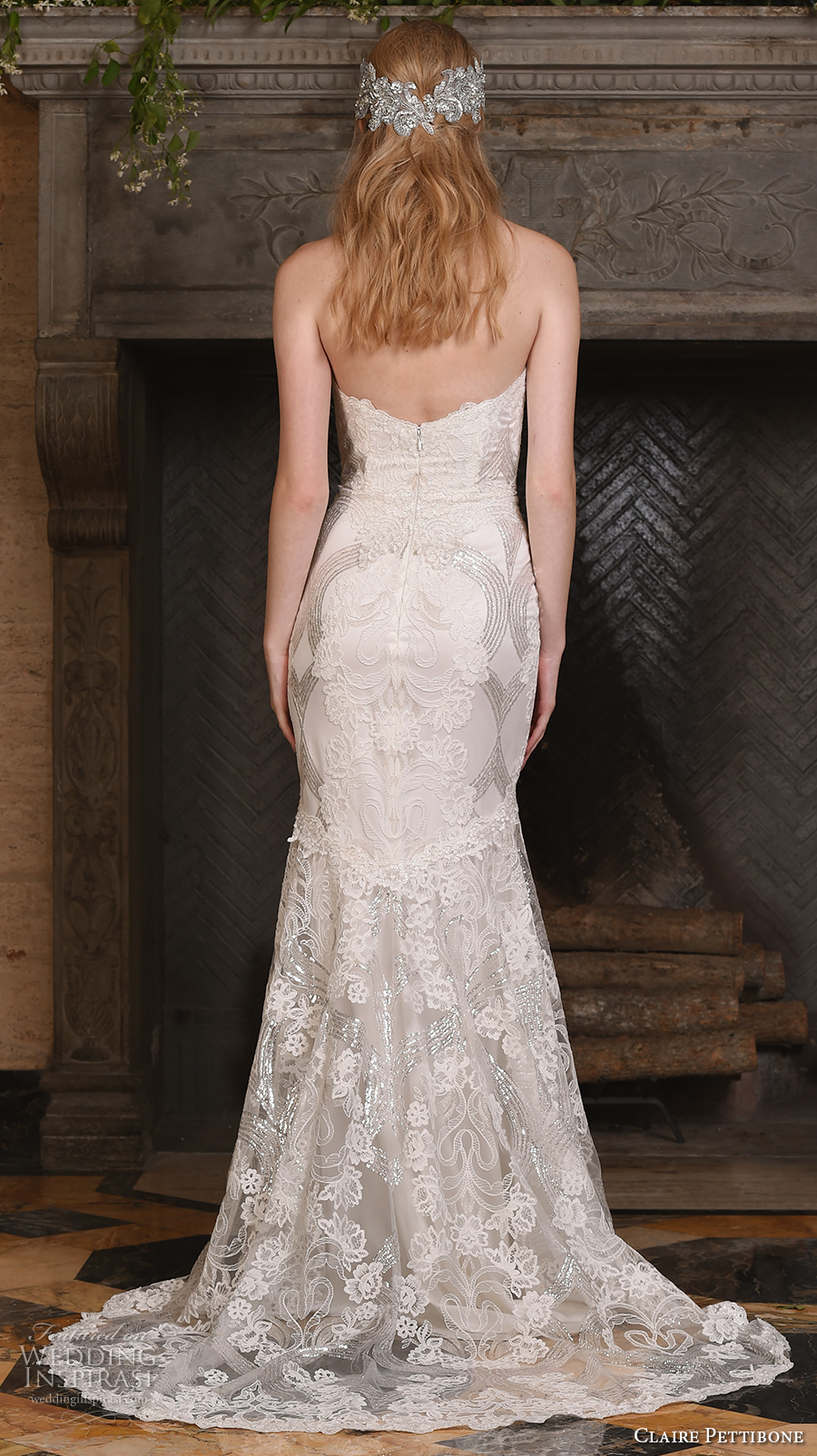 claire pettibone fall 2017 bridal strapless sweetheart neckline full embellishment vintage art nouveau elegant mermaid wedding dress sweep train (celeste) bv