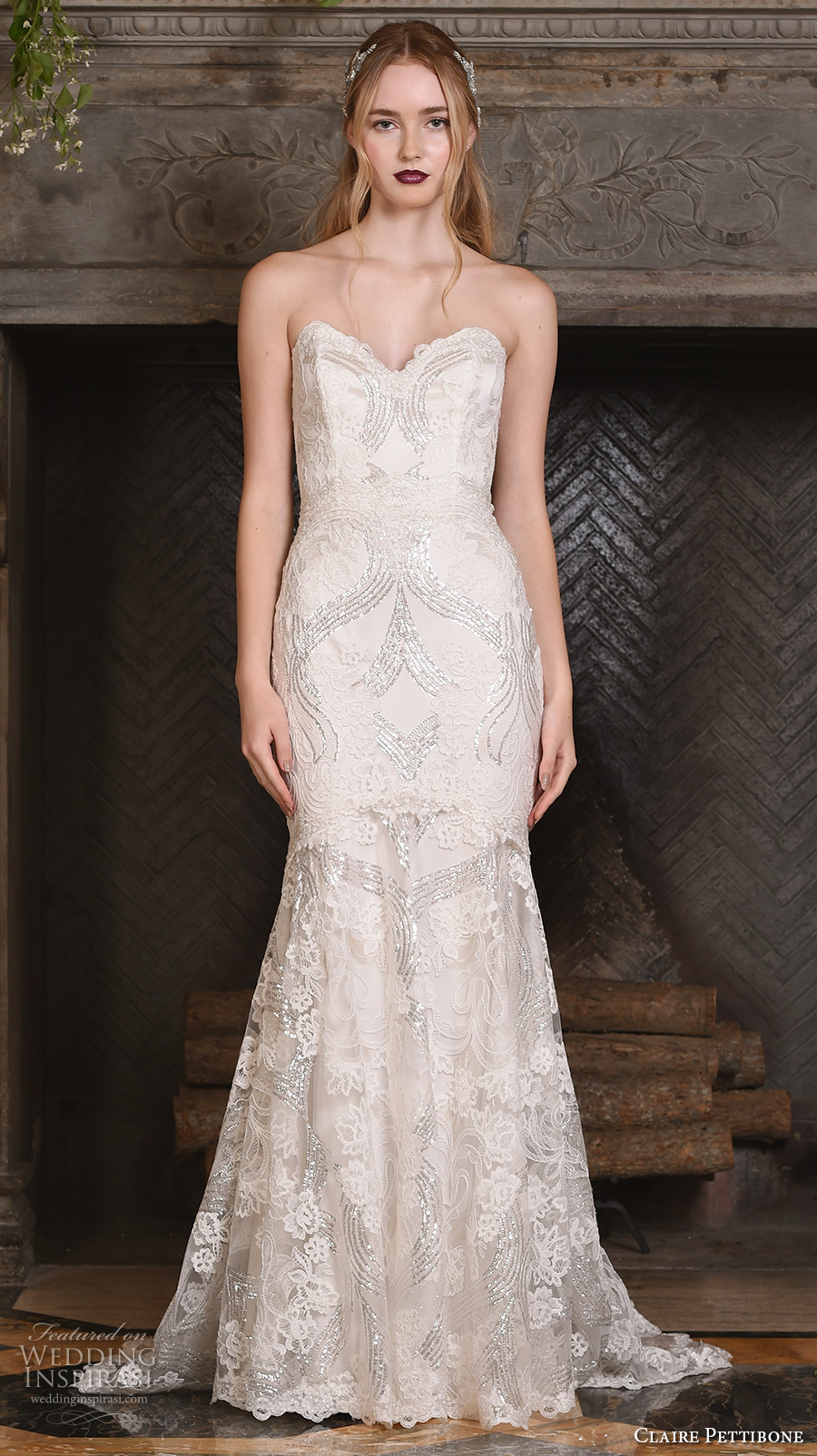 claire pettibone fall 2017 bridal strapless sweetheart neckline full embellishment vintage art nouveau elegant mermaid wedding dress sweep train (celeste) mv
