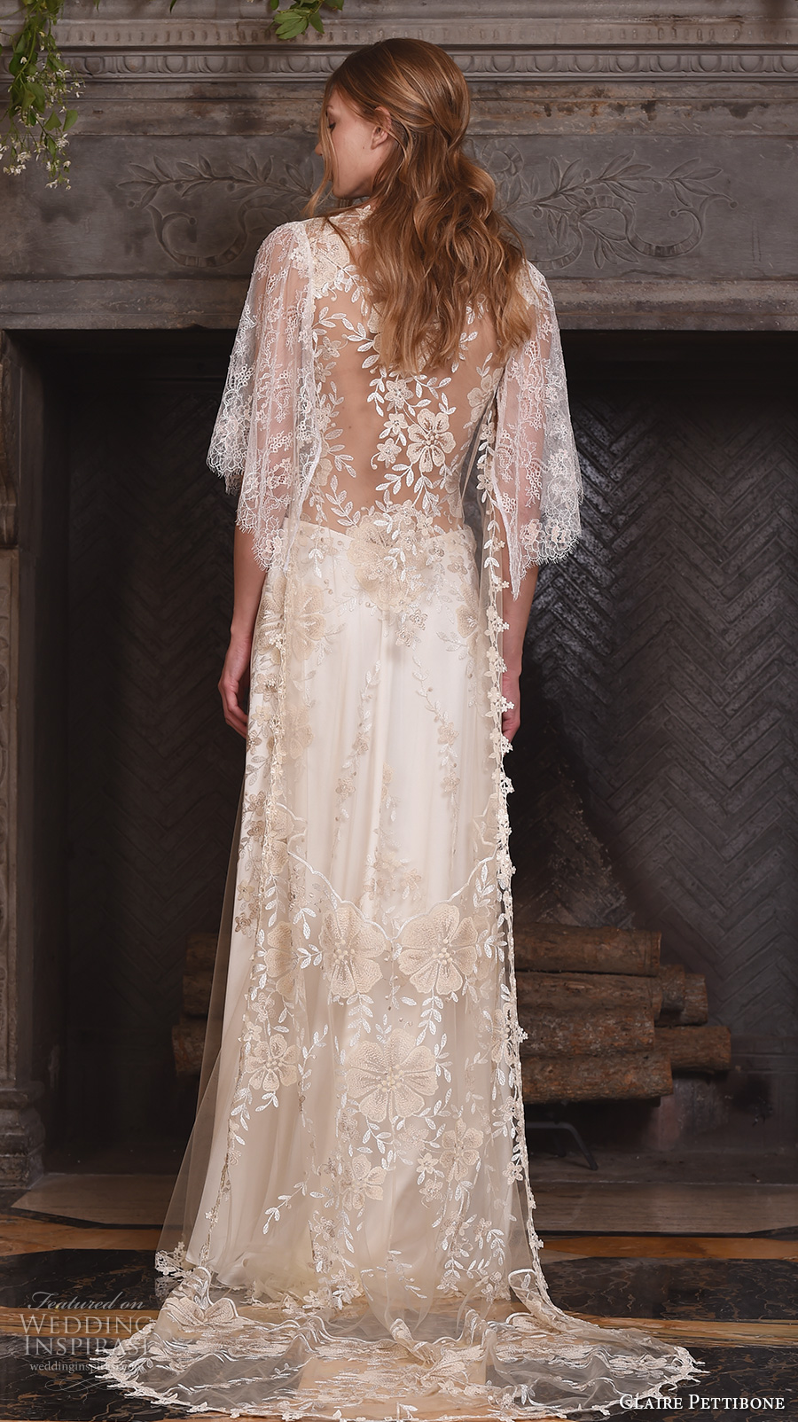 claire pettibone fall 2017 bridal three quarter sleeves illusion v neck sweetheart neckline heavily embellished bodice romantic modified a  line wedding dress lace back sweep train (reverie) bv