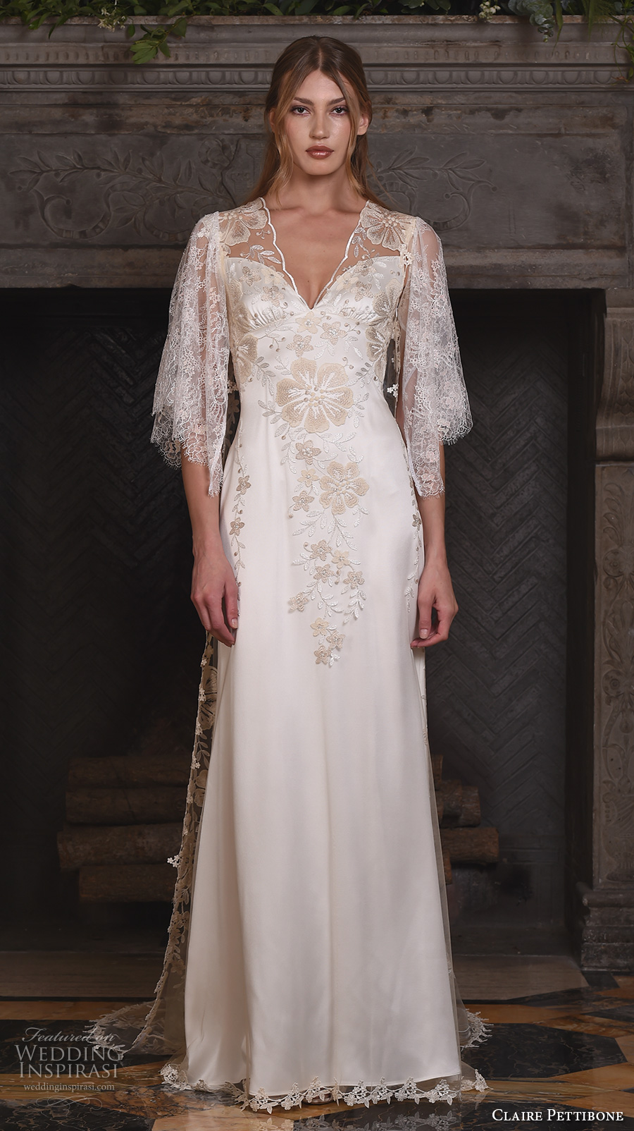 claire pettibone fall 2017 bridal three quarter sleeves illusion v neck sweetheart neckline heavily embellished bodice romantic modified a  line wedding dress lace back sweep train (reverie) mv