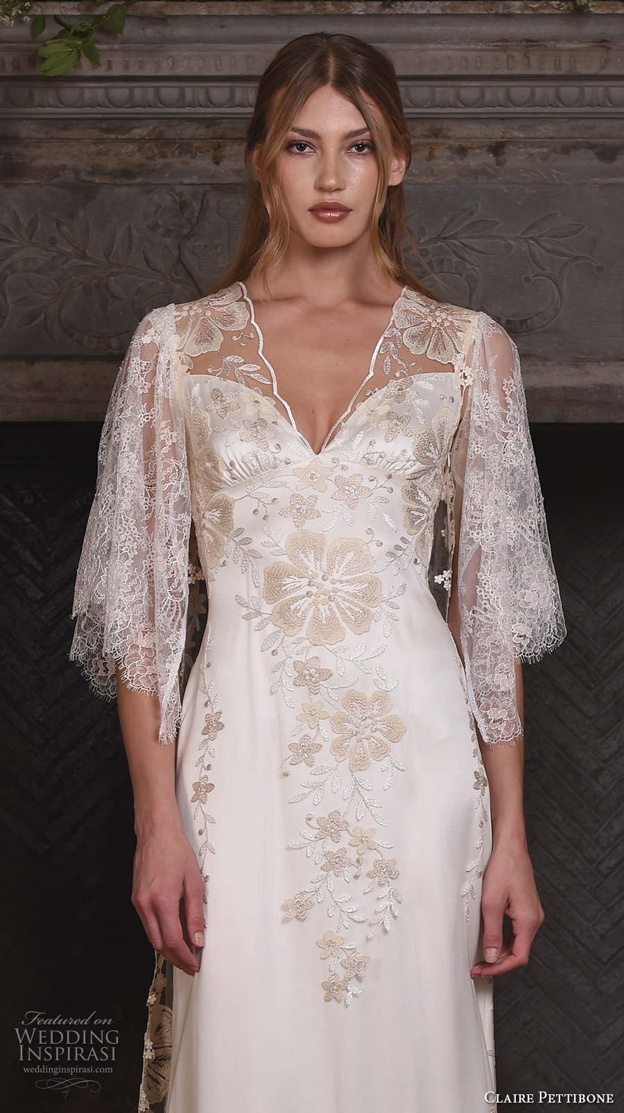 claire pettibone fall 2017 bridal three quarter sleeves illusion v neck sweetheart neckline heavily embellished bodice romantic modified a  line wedding dress lace back sweep train (reverie) zv