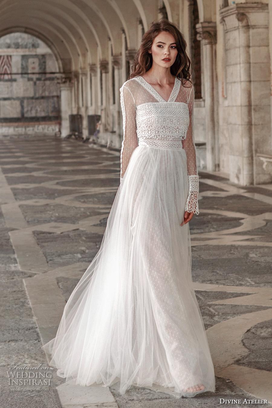 divine atelier 2017 bridal flounce long sleeves v neck heavily embellished bodice tulle skirt romantic bohemian a  line wedding dress sweep train (unnamed09) mv