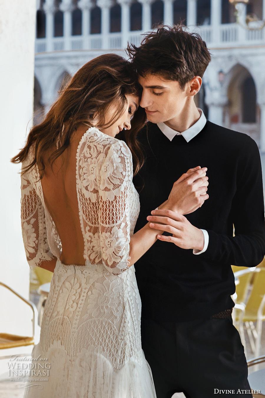 divine atelier 2017 bridal half sleeves round jewel neck heavily embellished bodice tulle skirt drop waist a  line wedding dress open back (unnamed06) zbv