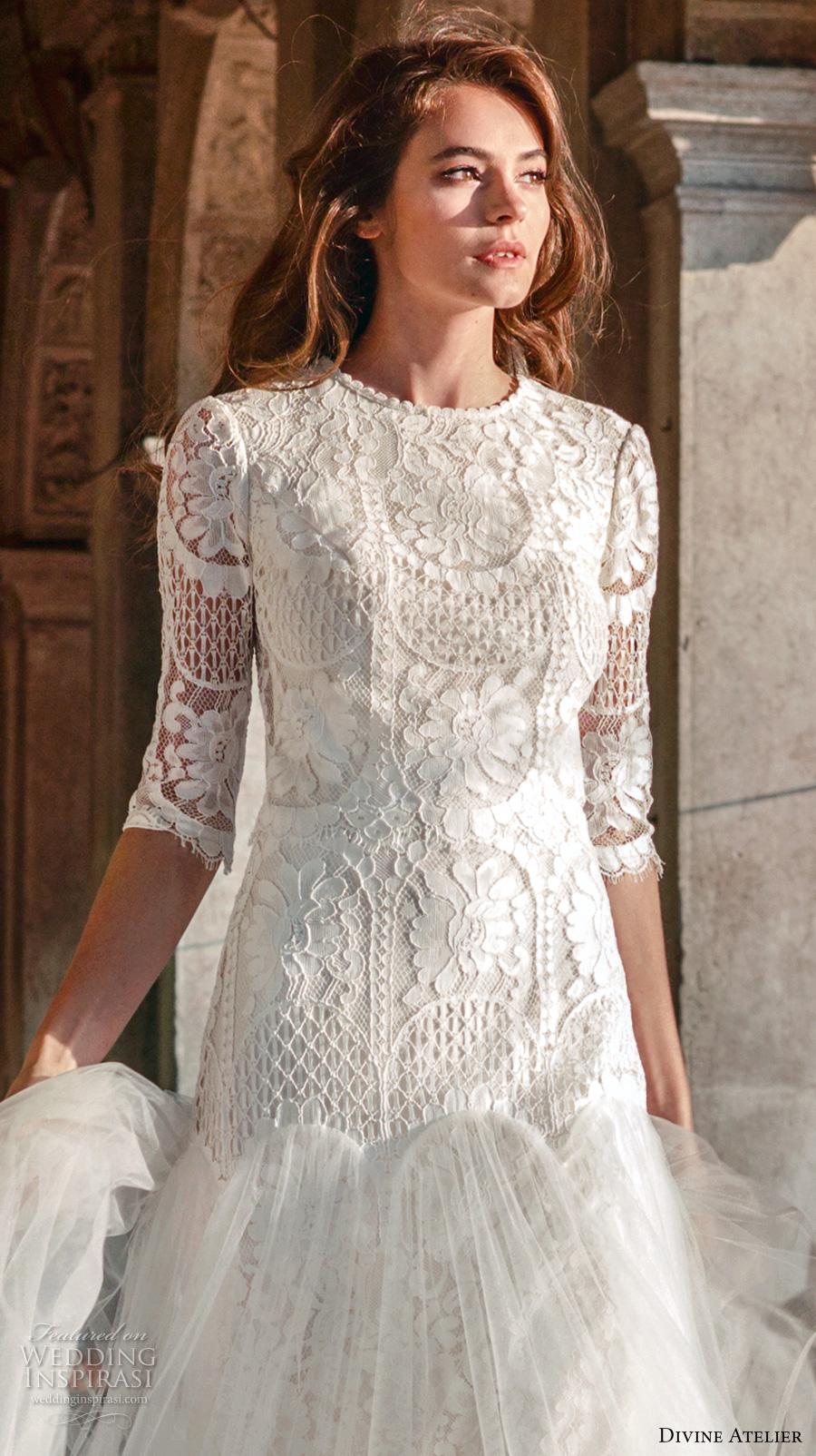 divine atelier 2017 bridal half sleeves round jewel neck heavily embellished bodice tulle skirt drop waist a  line wedding dress open back (unnamed06) zv