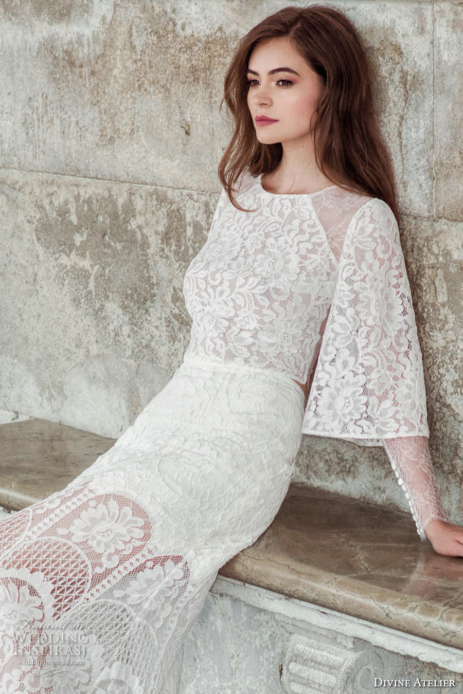 divine atelier 2017 bridal long bell sleeves full embellishment lace embroidered crop tp lace skirt bohemian romantic modified a  line wedding dress sweep train (unnamed02) zv