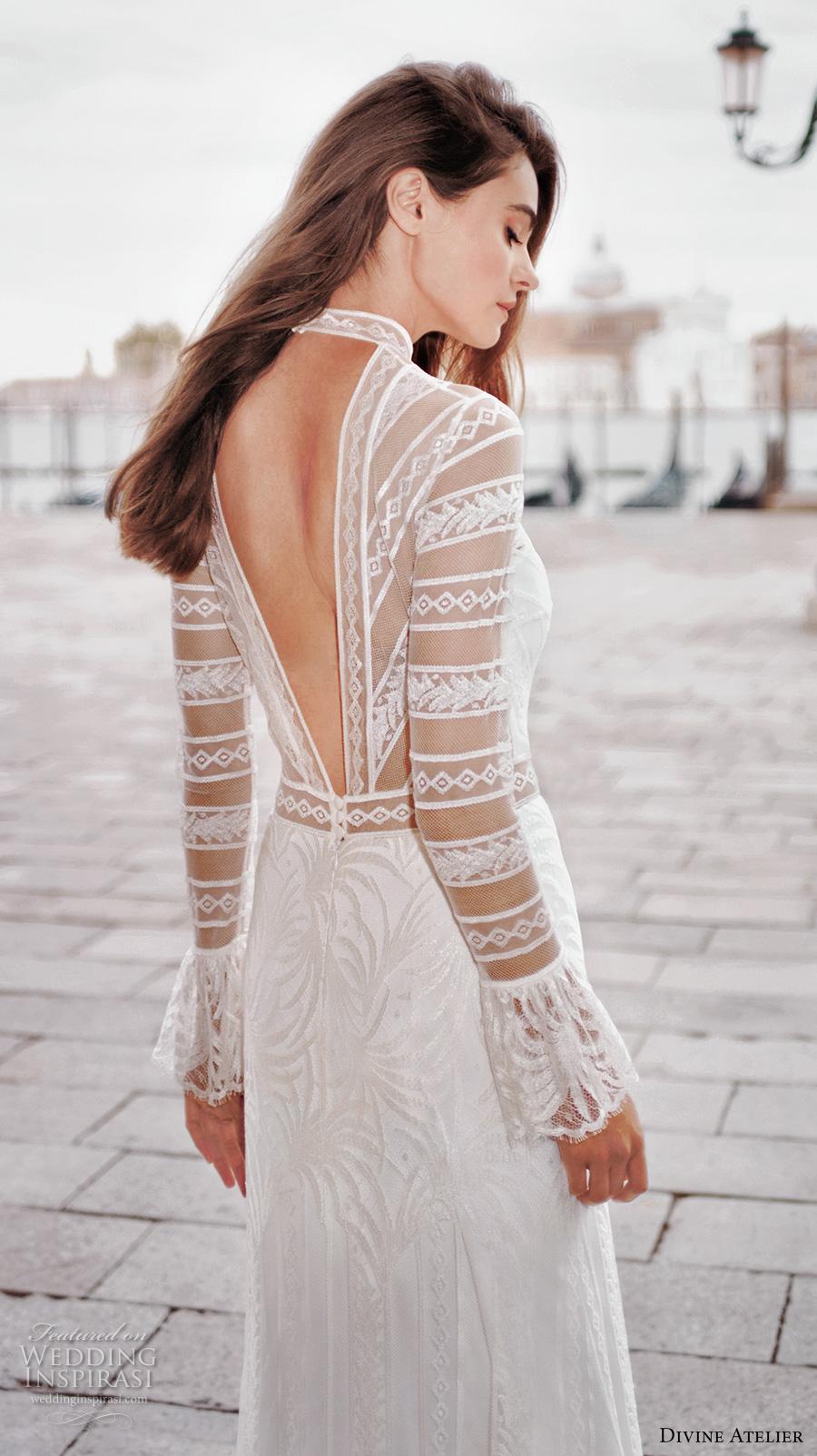 divine atelier 2017 bridal long sleeves illusion high neck sweetheart neckline lace embroidered elegant sheath wedding dress v back sweep train (unnamed01) zbv