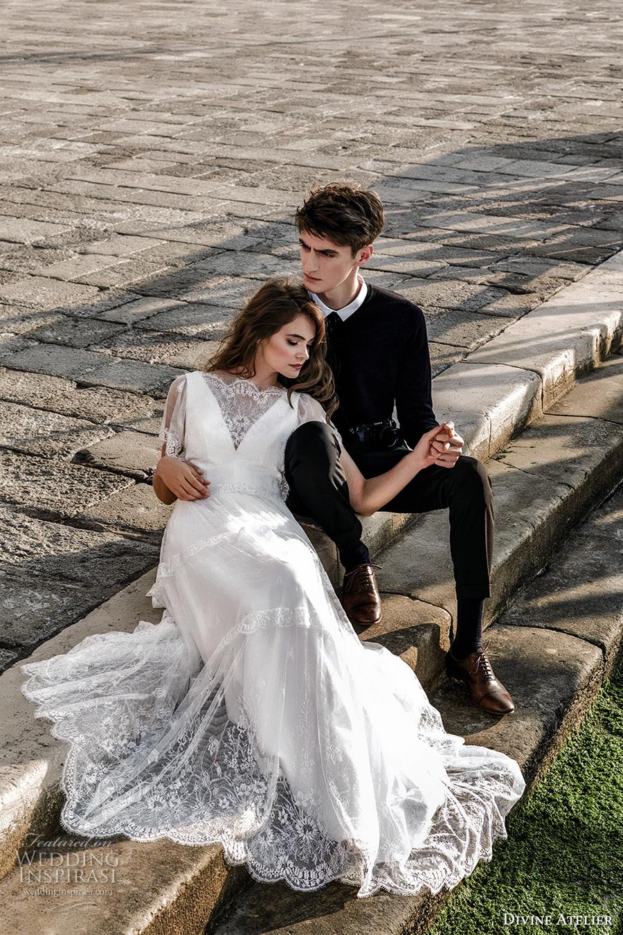 divine atelier 2017 bridal short circular cape sleeves illusion boat v neck vintage bohemian modified a  line wedding dress (unnamed08) mv