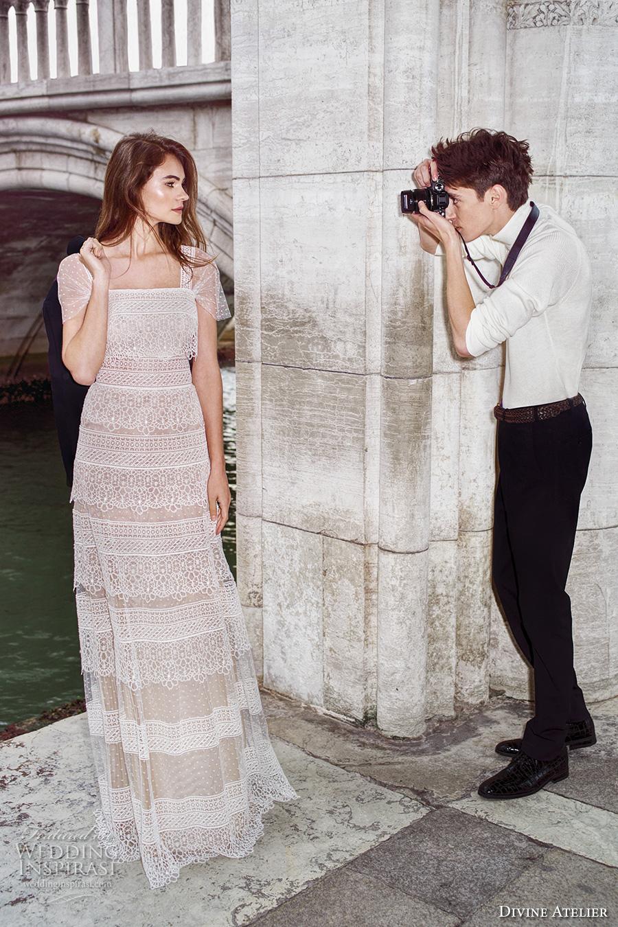 divine atelier 2017 bridal short sleeves straight across full embellishment tiered elegant vintage modified a  line wedding dress (unnamed03) mv