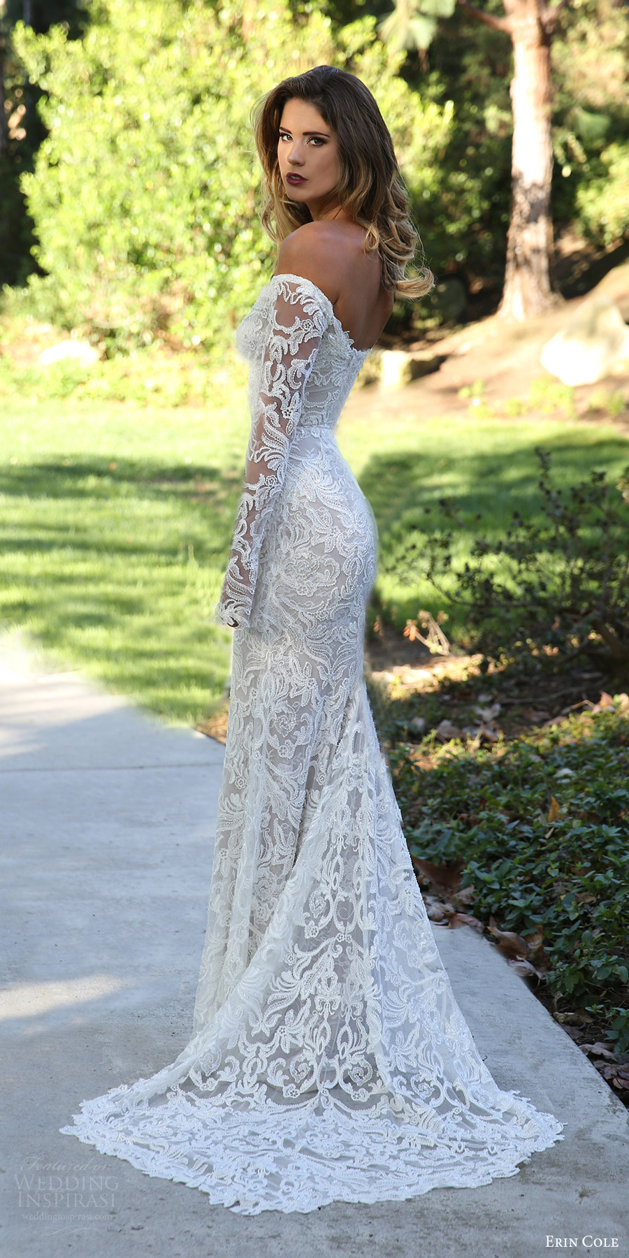Erin Cole Fall 2017 Bridal Off Shoulder Long Sleeves Beaded Lace Sheath Wedding Dress Antoinette