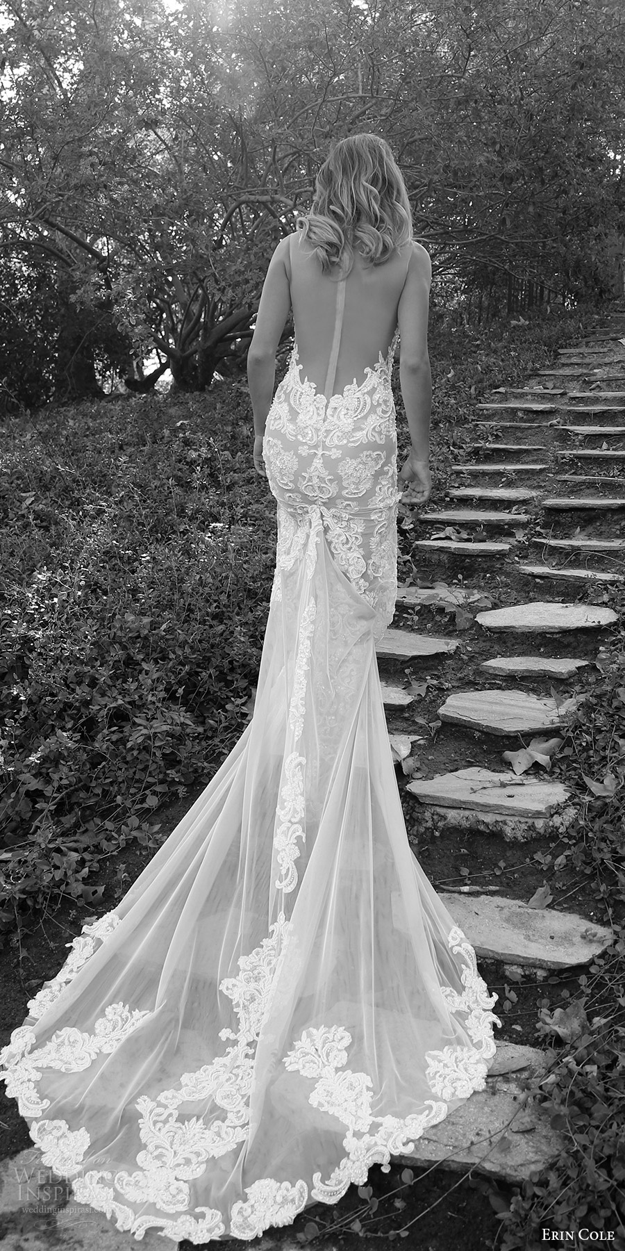 erin cole fall 2017 bridal sleeveless illusion bateau split sweetheart sheath lace wedding dress illusion open back (ambrosia) mv train
